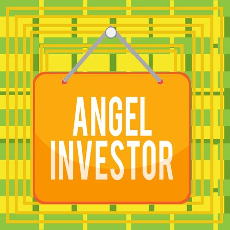 Text sign showing Angel Investor. Business photo text high net worth individual who provides financial backing Colored memo reminder empty board blank space attach background rectangle Stock Photo