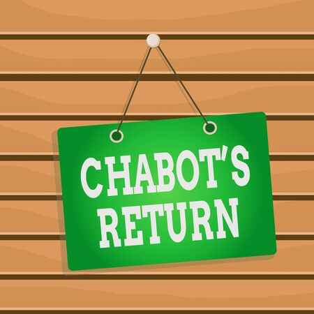 Conceptual hand writing showing Chabot S Return. Concept meaning the come back of conversation via auditory or textual method Memo reminder empty board attached background rectangle Фото со стока