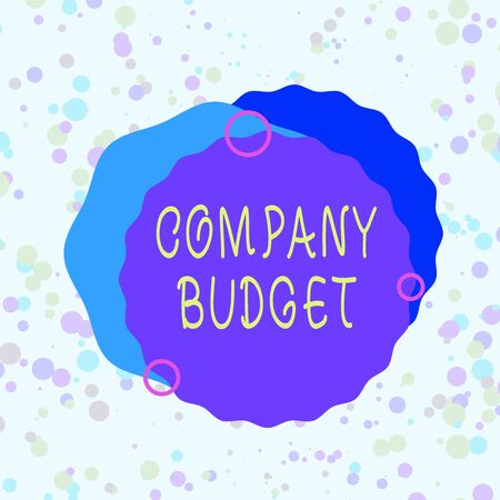 Handwriting text Company Budget. Conceptual photo the financial plan for a defined period often one year Asymmetrical uneven shaped format pattern object outline multicolour design Banco de Imagens