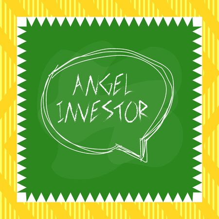 Word writing text Angel Investor. Business photo showcasing high net worth individual who provides financial backing Speaking bubble inside asymmetrical shaped object outline multicolor design
