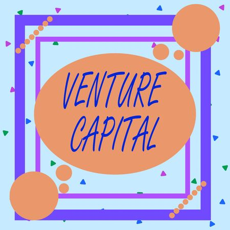 Conceptual hand writing showing Venture Capital. Concept meaning capital invested in a project in which there is risk Asymmetrical format pattern object outline multicolor design Stock Photo