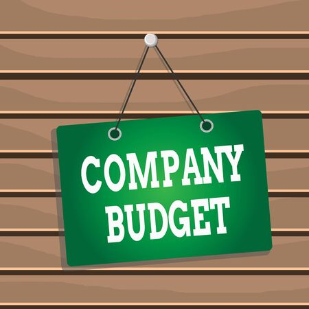 Conceptual hand writing showing Company Budget. Concept meaning the financial plan for a defined period often one year Memo reminder empty board attached background rectangle