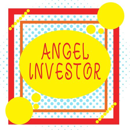 Word writing text Angel Investor. Business photo showcasing high net worth individual who provides financial backing Asymmetrical uneven shaped format pattern object outline multicolour design