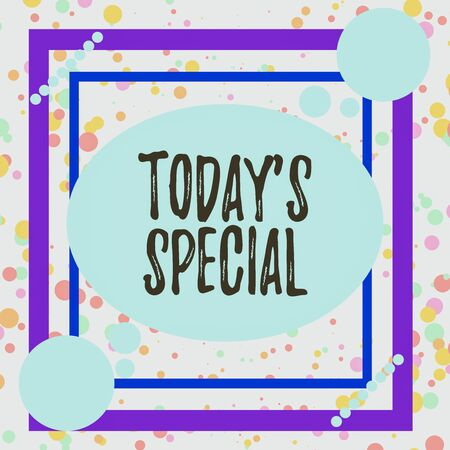 Handwriting text Today Special. Conceptual photo a day that filled with surprising events Unordinary day Asymmetrical uneven shaped format pattern object outline multicolour design
