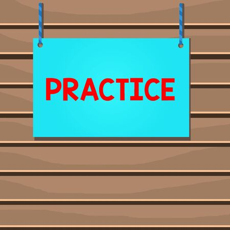 Conceptual hand writing showing Practice. Concept meaning the actual application or use of an idea belief or method Wooden board wood empty frame fixed colorful striped string Stock fotó