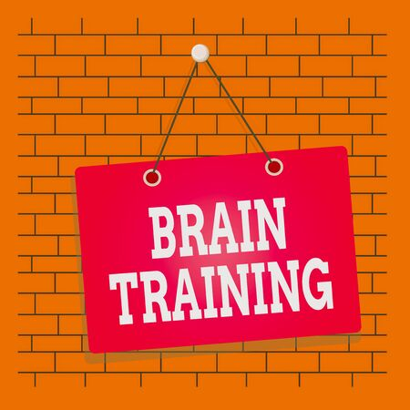 Text sign showing Brain Training. Business photo showcasing mental activities to maintain or improve cognitive abilities Colored memo reminder empty board blank space attach background rectangle