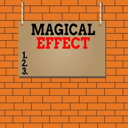 Text sign showing Magical Effect. Business photo text produced by or as if by magic a magical transformation words Wooden board wood rectangle shape empty frame fixed colorful striped string