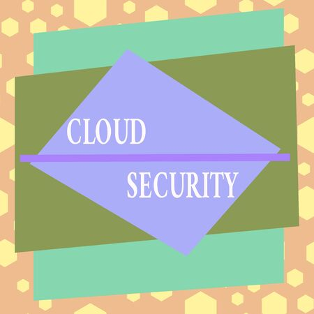Conceptual hand writing showing Cloud Security. Concept meaning protection of data stored online from theft and deletion Asymmetrical format pattern object outline multicolor design
