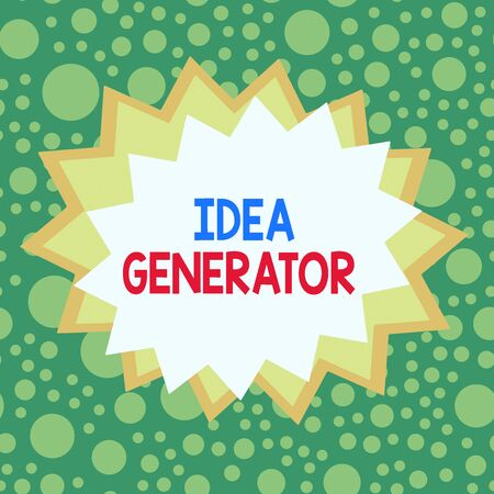 Word writing text Idea Generator. Business photo showcasing process of creating developing and communicating ideas Asymmetrical uneven shaped format pattern object outline multicolour design