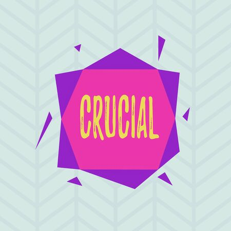 Conceptual hand writing showing Crucial. Concept meaning critical especially in the success or failure of something Asymmetrical format pattern object outline multicolor design