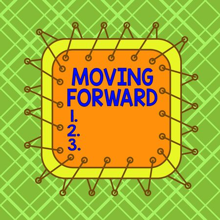 Word writing text Moving Forward. Business photo showcasing Toward or at a place point or time in advance Onward Ahead Asymmetrical uneven shaped format pattern object outline multicolour design