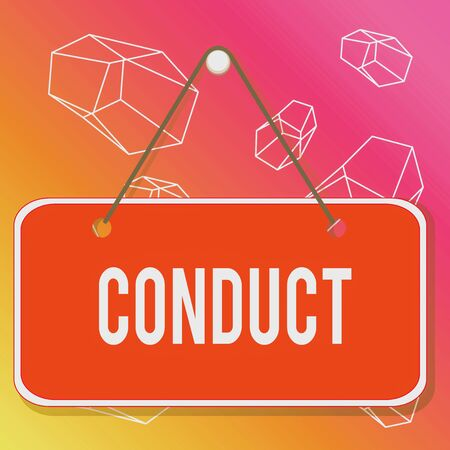 Word writing text Conduct. Business photo showcasing manner in which an organization or activity is managed or directed Colored memo reminder empty board blank space attach background rectangle Фото со стока