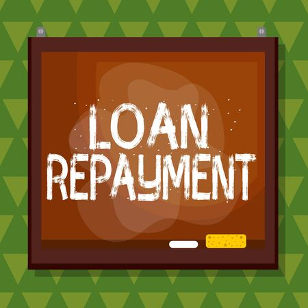 Conceptual hand writing showing Loan Repayment. Concept meaning act of paying back money previously borrowed from a lender Asymmetrical uneven shaped pattern object multicolour design Reklamní fotografie