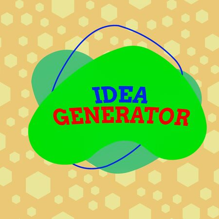 Text sign showing Idea Generator. Business photo text process of creating developing and communicating ideas Asymmetrical uneven shaped format pattern object outline multicolour design
