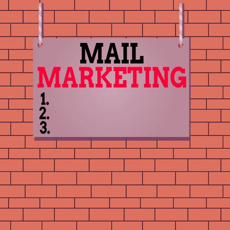 Text sign showing Mail Marketing. Business photo text act of sending a commercial message to a group of showing Wooden board wood rectangle shape empty frame fixed colorful striped string