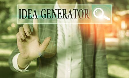 Word writing text Idea Generator. Business photo showcasing process of creating developing and communicating ideas Stock Photo