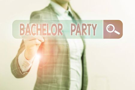 Conceptual hand writing showing Bachelor Party. Concept meaning a party given for a analysis who is about to get married Foto de archivo