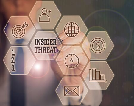 Writing note showing Insider Threat. Business concept for security threat that originates from within the organization