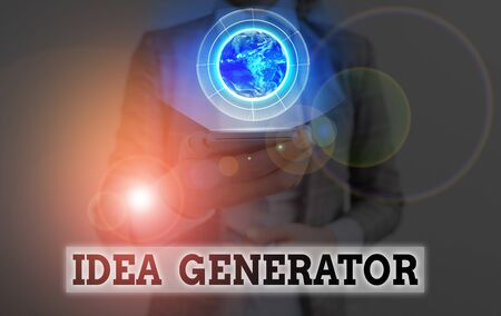 Conceptual hand writing showing Idea Generator. Concept meaning process of creating developing and communicating ideas