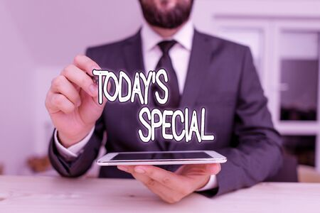 Writing note showing Today Special. Business concept for a day that filled with surprising events Unordinary day Male human wear formal clothes present use hitech smartphone