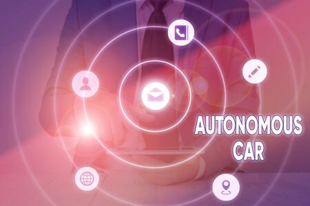 Writing note showing Autonomous Car. Business concept for vehicle that can guide itself without human conduction