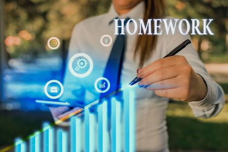 Word writing text Homework. Business photo showcasing schoolwork assigned to be done outside the classroom or at home Foto de archivo