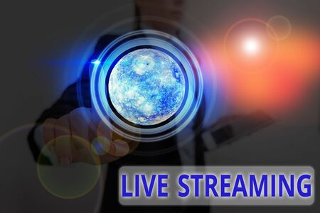 Handwriting text Live Streaming. Conceptual photo media simultaneously recorded and broadcast in real time