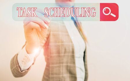 Word writing text Task Scheduling. Business photo showcasing The assignment of start and end times to a set of tasks Banque d'images