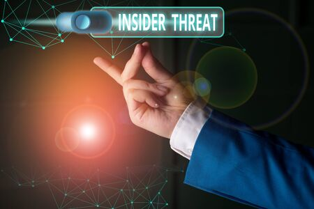 Word writing text Insider Threat. Business photo showcasing security threat that originates from within the organization