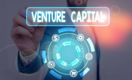 Text sign showing Venture Capital. Business photo text capital invested in a project in which there is risk
