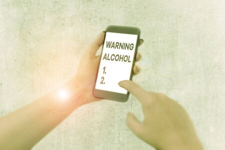 Word writing text Warning Alcohol. Business photo showcasing messages appear on the packaging of alcoholic beverages
