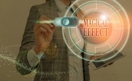 Text sign showing Magical Effect. Business photo text produced by or as if by magic a magical transformation words Фото со стока