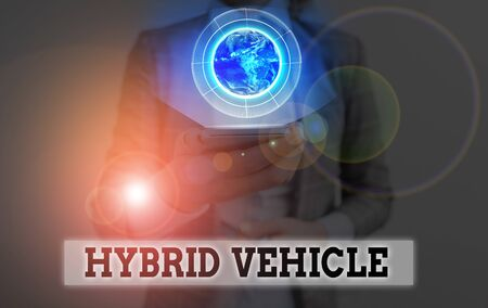 Conceptual hand writing showing Hybrid Vehicle. Concept meaning automobile that uses more than one means of propulsion