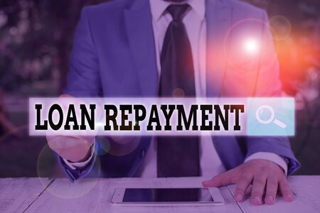 Text sign showing Loan Repayment. Business photo text act of paying back money previously borrowed from a lender