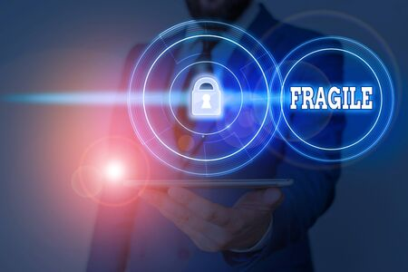 Word writing text Fragile. Business photo showcasing Breakable Handle with Care