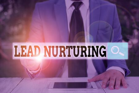 Text sign showing Lead Nurturing. Business photo text method of building a relationship with potential customers 免版税图像