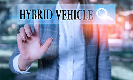 Word writing text Hybrid Vehicle. Business photo showcasing automobile that uses more than one means of propulsion Stock Photo