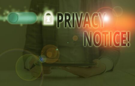 Handwriting text Privacy Notice. Conceptual photo fulfils a legal requirement to protect a customer or client 스톡 콘텐츠