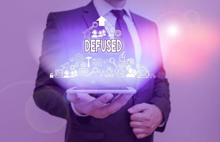 Writing note showing Defused. Business concept for make a difficult or dangerous situation calmer by reducing its cause