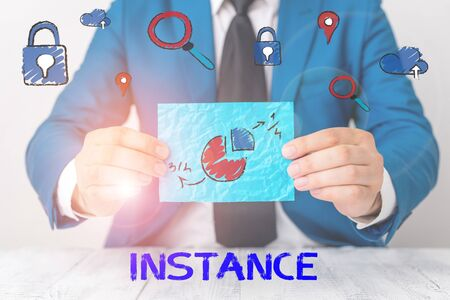 Conceptual hand writing showing Instance. Concept meaning an example or single occurrence of something Particular situation
