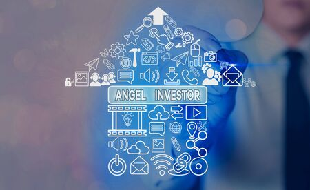 Word writing text Angel Investor. Business photo showcasing high net worth individual who provides financial backing