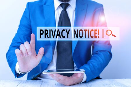 Text sign showing Privacy Notice. Business photo showcasing fulfils a legal requirement to protect a customer or client Businessman with pointing finger in front of him 스톡 콘텐츠