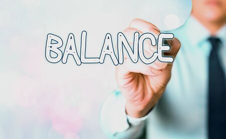 Word writing text Balance. Business photo showcasing a state of equilibrium or equipoise Living with peace and harmony Фото со стока
