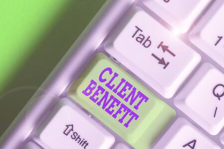 Conceptual hand writing showing Client Benefit. Concept meaning The real or perceived value that a customer experiences