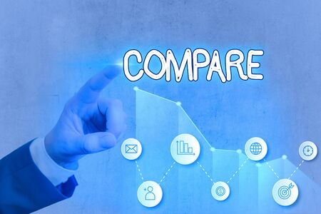 Writing note showing Compare. Business concept for Estimate Measure Note the similarities dissimilarities between
