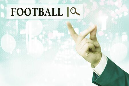 Writing note showing Football. Business concept for any of various forms of team game involving kicking a ball