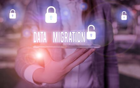 Word writing text Data Migration. Business photo showcasing process of transferring data between data storage systems