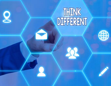 Word writing text Think Different. Business photo showcasing unusual method or practice that showing use to think