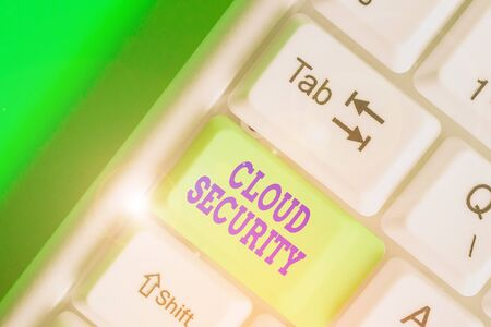Conceptual hand writing showing Cloud Security. Concept meaning protection of data stored online from theft and deletion