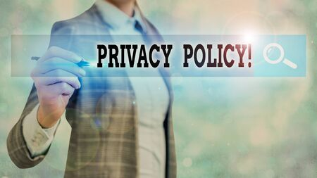 Text sign showing Privacy Policy. Business photo text statement or a legal document that discloses clients data